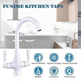 Funime Traditional Kitchen Sink Mixer Taps White Elegant Ceramic Dual Lever Monobloc Swivel Spout Chrome Brass with Free Hoses