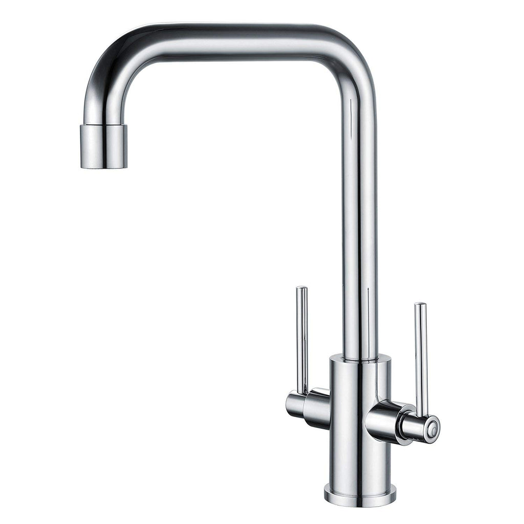 Hapilife Kitchen Sink Mixer Taps Mono Traditional Dual Lever Chrome Brass With Hoses And Fittings