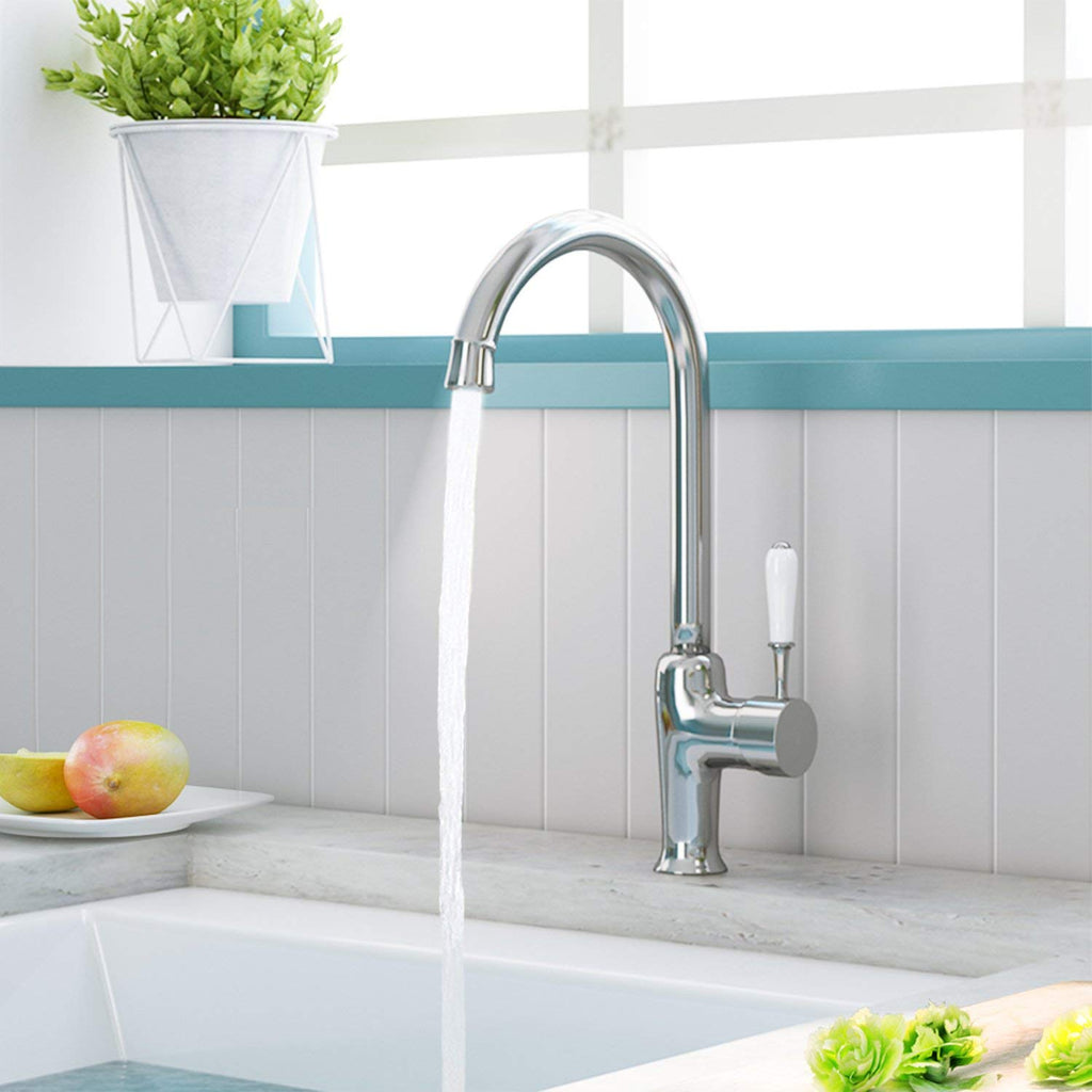 Hapilife Kitchen Sink Mixer Taps Monobloc White Ceramic Single Lever Mono Chrome Brass Swivel Spout With Hoses And Fittings