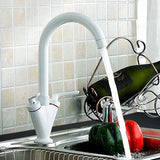 Hapilife® Contemporary  Swivel Spout Kitchen Tap-Pearl White