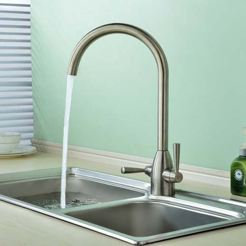 Hapilife® Dual Lever with Swivel Spout Kitchen Tap-Brushed Nickel