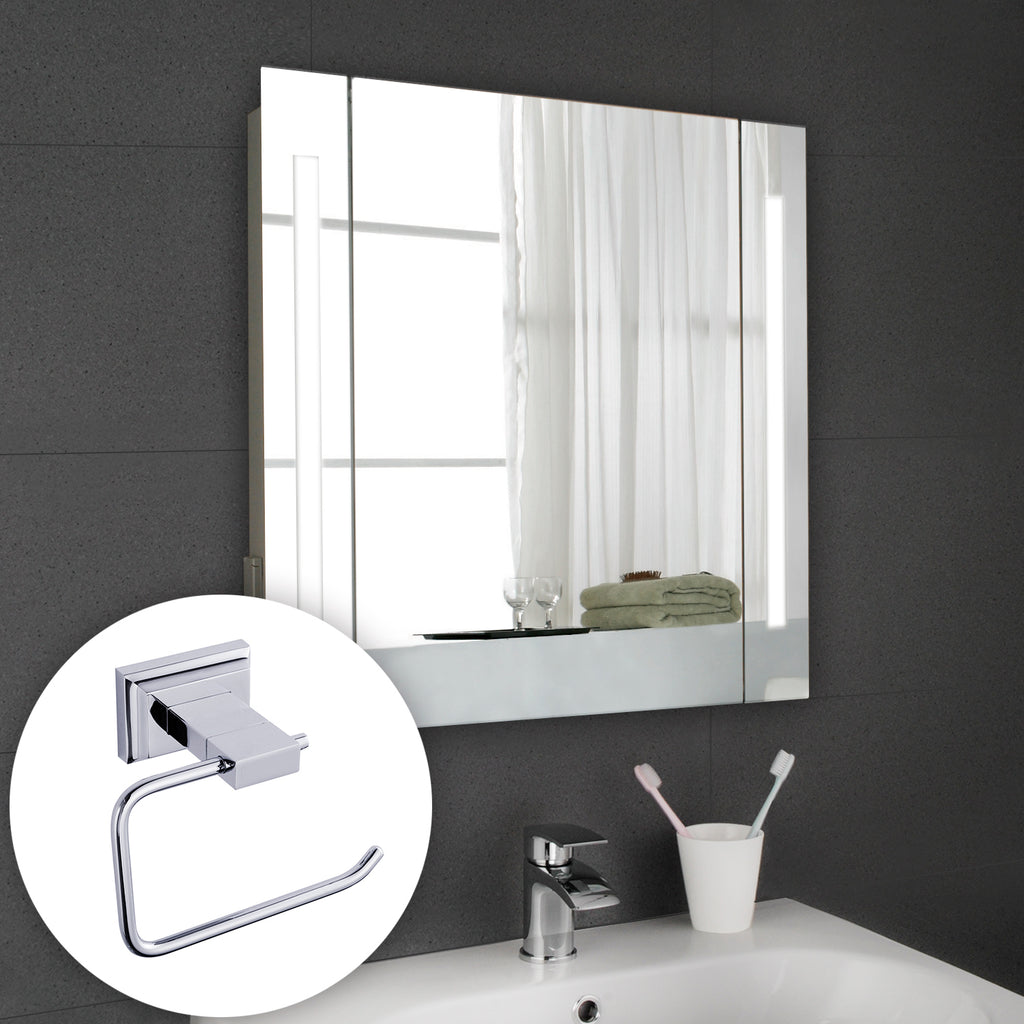 Hapilife LED Illuminated Bathroom Cabinet with Light Mirror Demister Shaver Socket Wall Mounted 600mm x 605mm [ Includes a Stainless steel Paper Holder ]