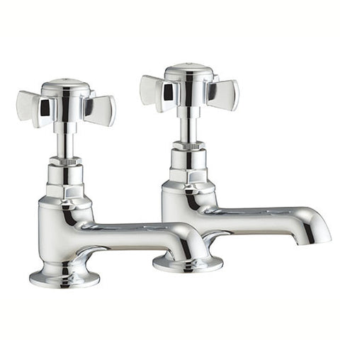 Rye Crosshead Basin Pillar Taps-Chrome