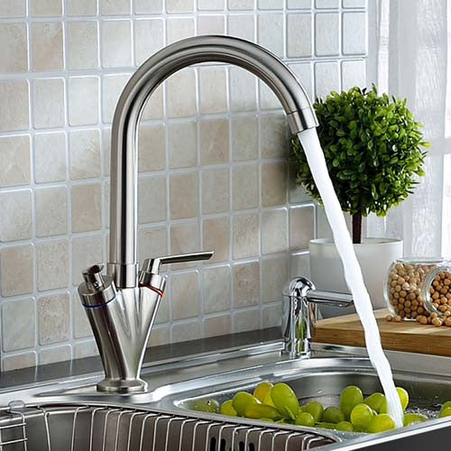 Hapilife® Contemporary Swivel Spout Kitchen Tap-Brushed