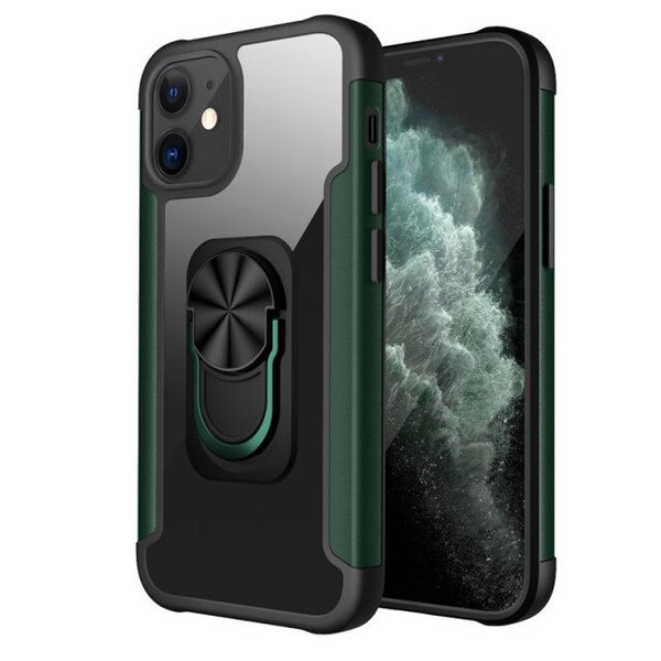 New PC+TPU Ring Magnetic Holder Anti-Fall Armor Case For iPhone 11 12 Series
