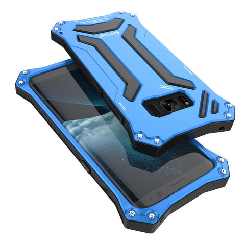 New Futuristic Style Aluminum Shock and Lifeproof Metal Case with Silicone Cover for Samsung Galaxy S8 & S8 Plus