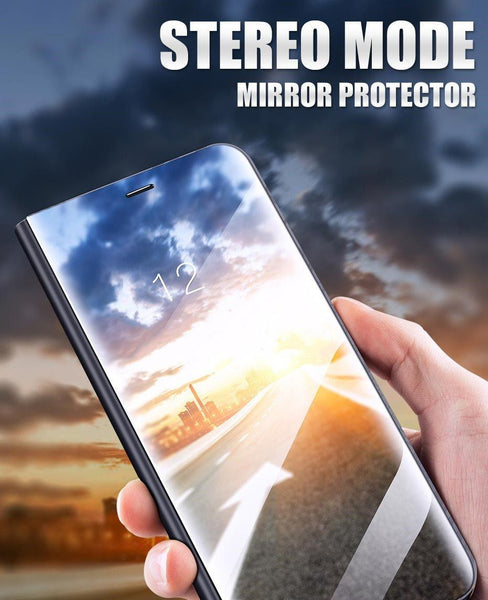 New Luxury Protective Flip Phone Case Mirror Clear View Cover with Stand for iPhone X XR XS 11 Pro Max & Samsung Galaxy S20 Series