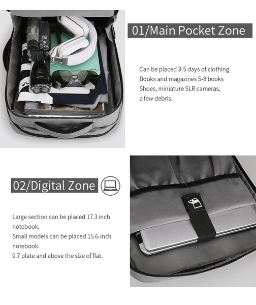 New Hybrid Huge Capacity Water-Resistant USB Design 15 Inch Laptop Backpack Short Trip Travel Bag