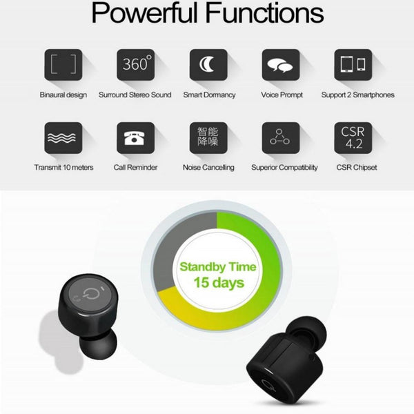 New Bluetooth Earphones Mini True Wireless Marathon Earbud Twins with Microphone