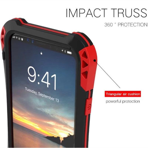 New Carbon Fiber Suited Outdoor Shockproof Alloy Tempered Glass Case Cover for iPhone 7 8 X XS XR Series