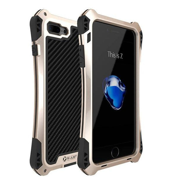 Smart Moderns - New Carbon Fiber Suited Outdoor Shockproof Alloy Tempered Glass Case Cover For IPhone 7 8 X XS XR Series