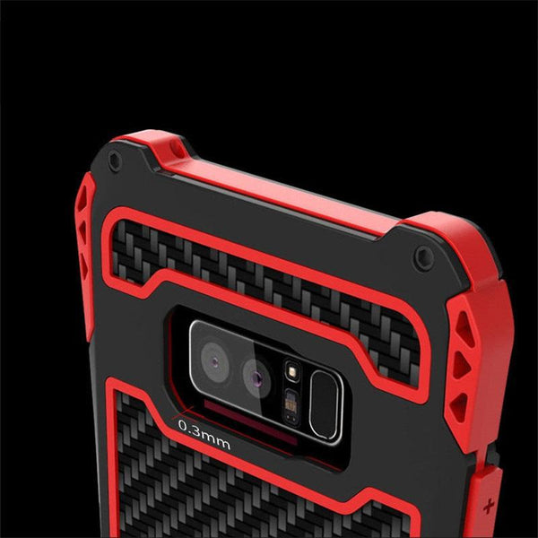 New Carbon Fiber Suited Armor Aluminum Shockproof Case  Outdoor Anti-Shock Cover for Samsung Galaxy S9 S10 Note 9 10 Plus
