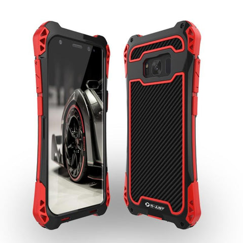 New Carbon Fiber Suited Armor Aluminum Case Outdoor Anti-Shock Cover for Samsung Galaxy S9 S10 Note 9 10 Plus
