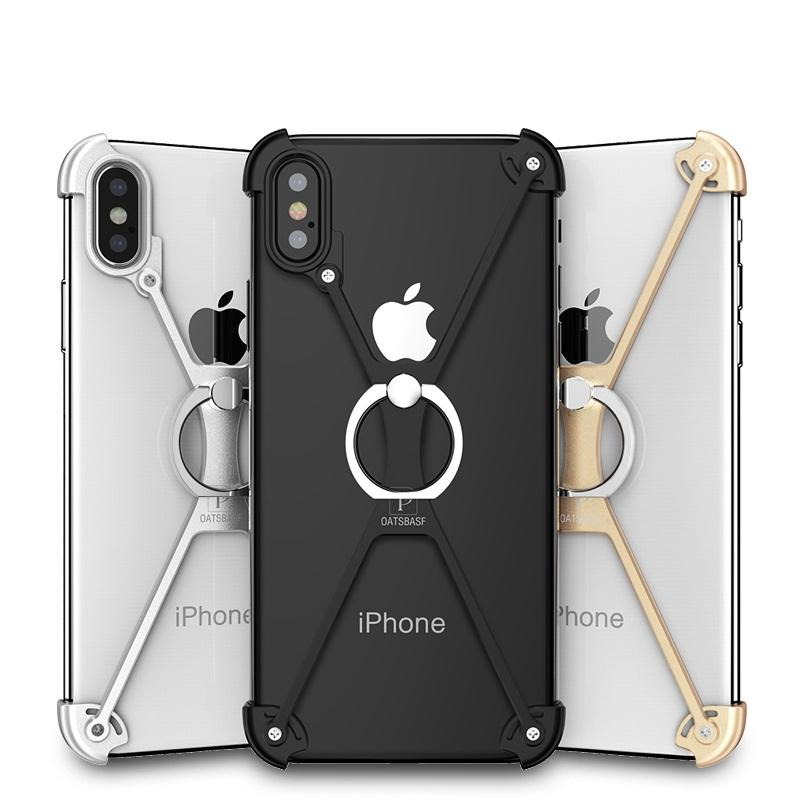 los angeles 87776 a3193 New X-Shaped Aluminum Metal Shockproof Bumper Mobile Phone Case Frame with  Ring Holder for Apple iPhone X 8 Series