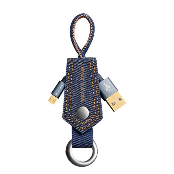 New Denim Keychain  Micro Data USB Cable with Fast Charging for Samsung Huawei HTC Android