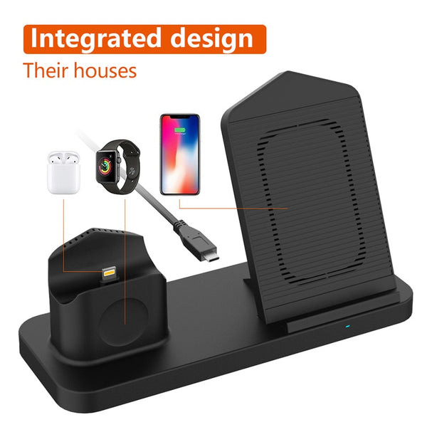 New Fast 3 in 1 Wireless Charging Qi 10W Dock Station For iPhones AirPods Apple Watch