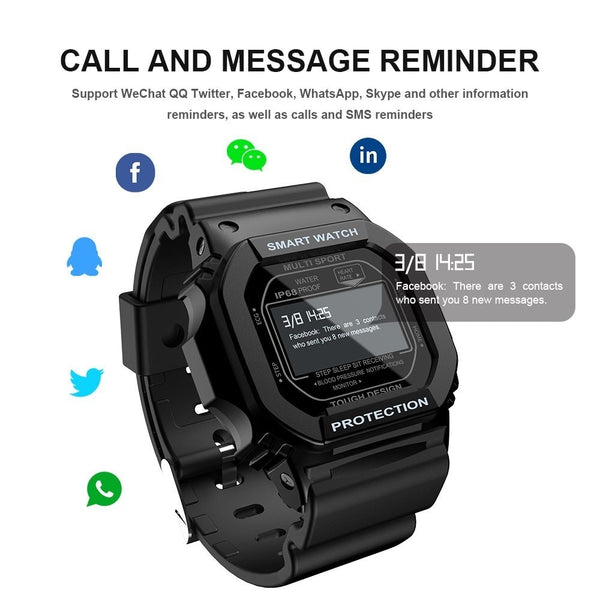 New Bluetooth IP68 Waterproof Color Touch Screen Heart Rate Monitor Digital Smartwatch For Android iOS