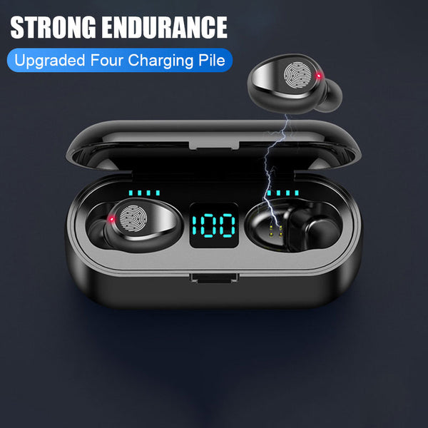 New Bluetooth 5.0 Wireless Stereo Sport Headphones Earbuds Headset With 2000 mAh Charge Box