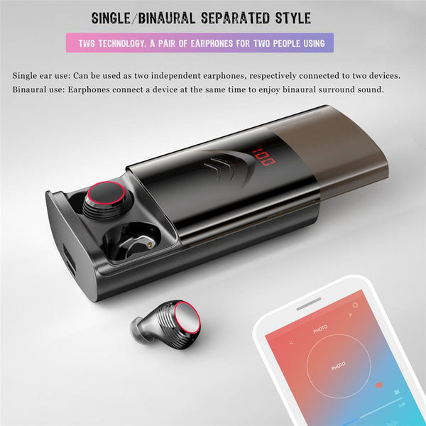New TWS Bluetooth In-Ear Wireless Portable Stereo Headset Earbuds With 6000mAh Power Bank For Samsung iPhone Xiaomi