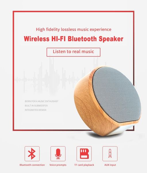 New Wood Grain Wireless Bluetooth Portable Mini Subwoofer Audio Gift Stereo Speaker