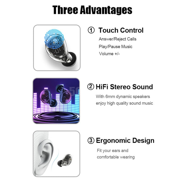 New Bluetooth 5.0 Wireless IPX6 Waterproof Hifi Stereo Sport Earbud Headset With Mic + Charging Box