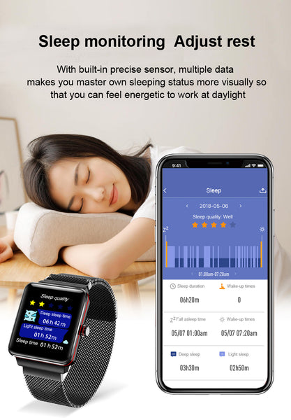 New IP68 Waterproof Step Heart Rate Blood Pressure Tracker Sport Fitness Smartwatch For iPhone Android