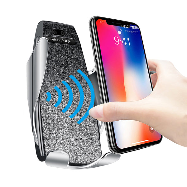 New Qi Fast Wireless Charger Phone Holder Car Mount For iPhone Samsung Smartphones