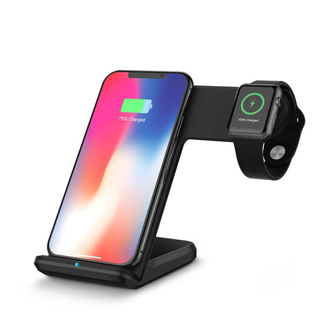 New Compact 10W Qi Wireless Desk Charger 2-In-1 Fast Charging Dock For Samsung iPhone Apple Watch