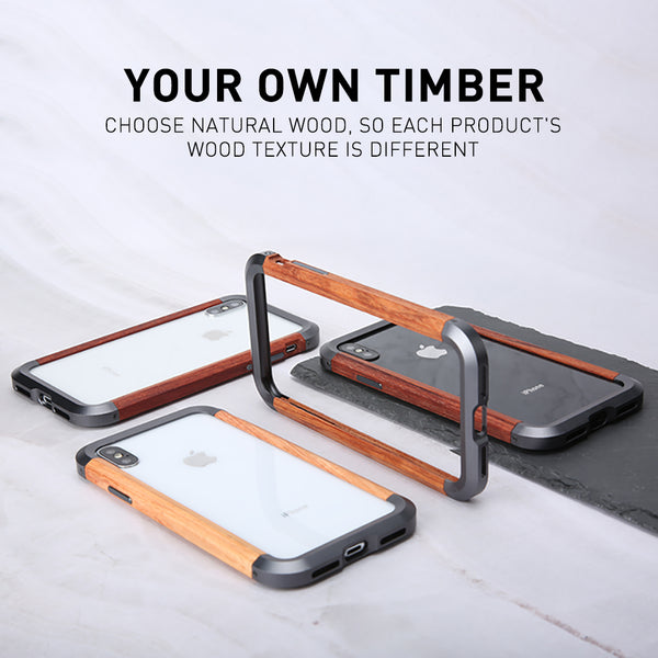 New Aluminum Metal Bumper Slim Natural Wood Armor Phone Protective Case For iPhone X XS MAX