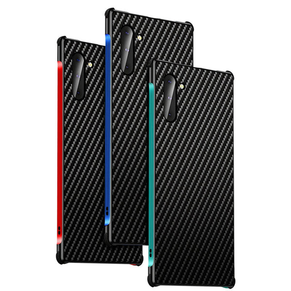 New Carbon Fiber Slim Metal Frame Scratch Resistant Bumper Case For iPhone Samsung Galaxy S20 S10 Series