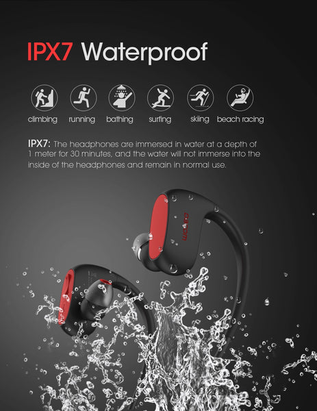New IPX7 Waterproof Wireless Earphones Sport Bluetooth Headset With Mic For iPhone Samsung Xiaomi