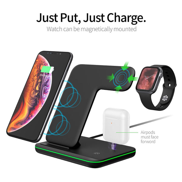 New 15W Fast Qi Wireless Charging Stand Dock Phone Holder Charger For iPhones Airpods Appe Watch