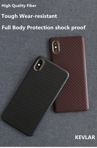 New Aramid Fiber Ultrathin 360° Full Protection Carbon Fiber Fitted Cover Case For iPhone X XS XR 11 Pro Max Series