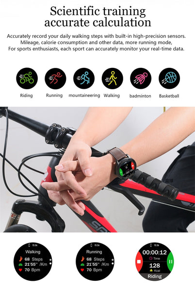 New IP68 Waterproof Full Touch Screen Sport Fitness Bracelet Smartwatch For iPhone Android