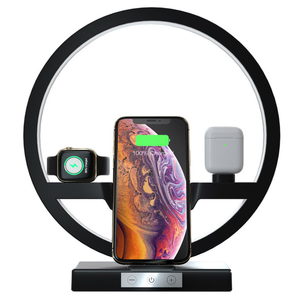 New 3-In-1 Qi Fast Wireless Charger Holder Stand Dock Led Lamp For Compatible iPhones Airpods Apple Watch