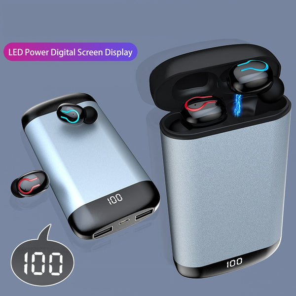 New Wireless Bluetooth Earphones Earbuds With Mic Headset Power Bank For iPhones Androids
