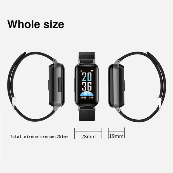 New 2-In-1 Smart Watch Bracelet With TWS Bluetooth Earphone Sports Bracelet Heart Rate Fitness Tracker
