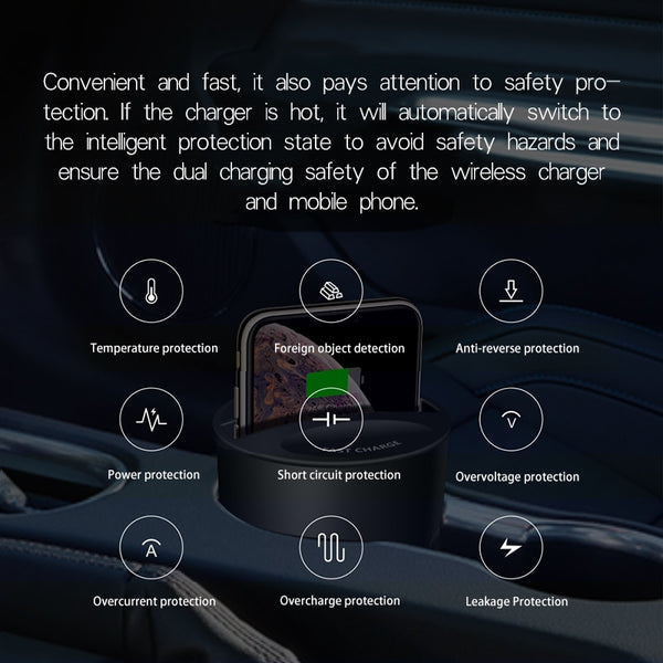New Qi Wireless Car Phone Holder Fast Charging Charger For iPhone Samsung Smartphones