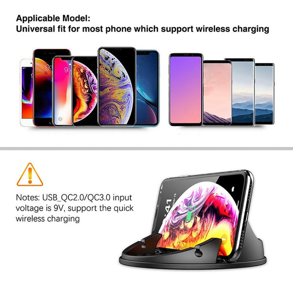 New 10W Fast Qi Wireless Charging Car Holder Mount For Compatible iPhone Samsung Smartphones