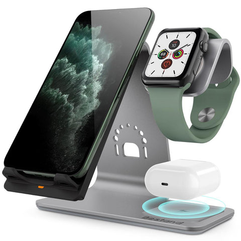 New 3-in-1 Aluminum Qi Wireless Charging Station Dock Stand For Airpods Apple Watch iPhones