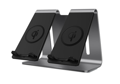 New Aluminum Wireless 2-In-1 Qi Fast Phone Charging Stand Dock Station For Compatible iPhones Samsung Smartphones