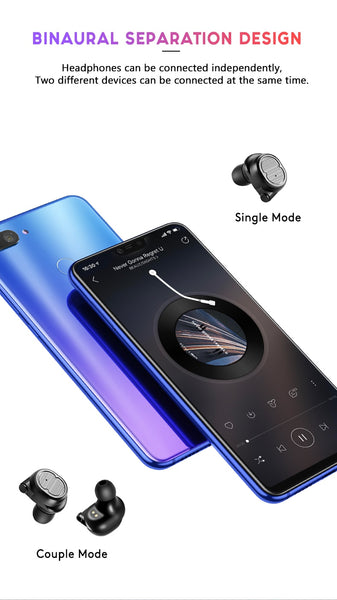 New True Wireless Bluetooth Waterproof Sport Stereo Earphones Headset Earbuds For iPhone Samsung Xiaomi