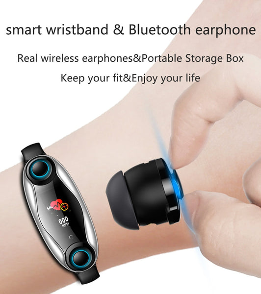 New Bluetooth Headphone Heart Rate Fitness Tracker Smartwatch Digital Wristband Smart Watch For iPhone Samsung Xiaomi
