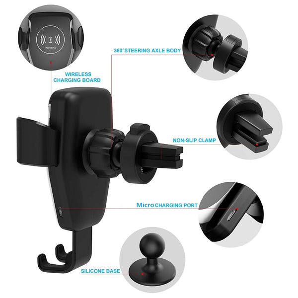 New Fast Qi Wireless Car Mount Holder Charger For Compatible iPhones Samsung Xiaomi