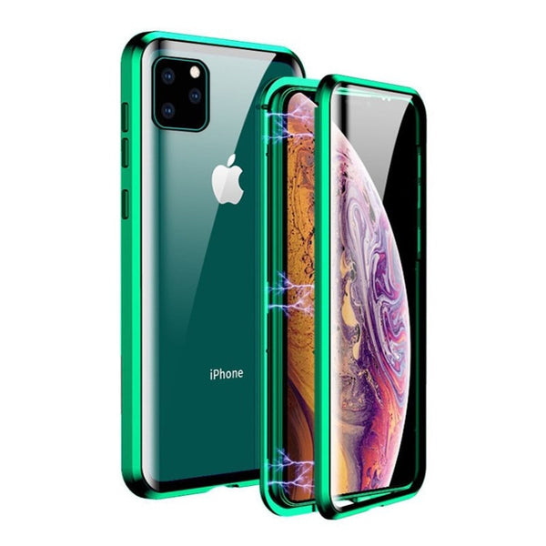 New Metal Magnetic Tempered Glass Protective Case For iPhone 11 Pro XS Max Series