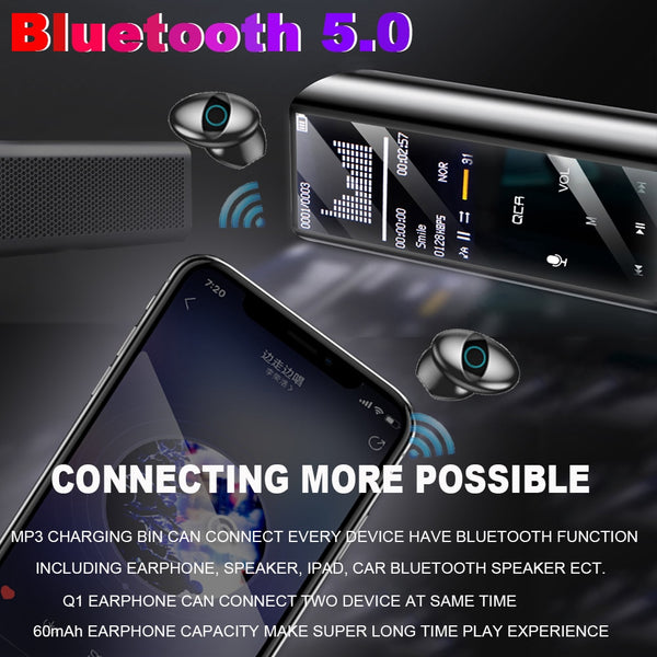 New Multifunctional MP3 Player Earphone Wireless Bluetooth IPX7 Waterpoor 9D Earbuds With 6000mAh Power Bank