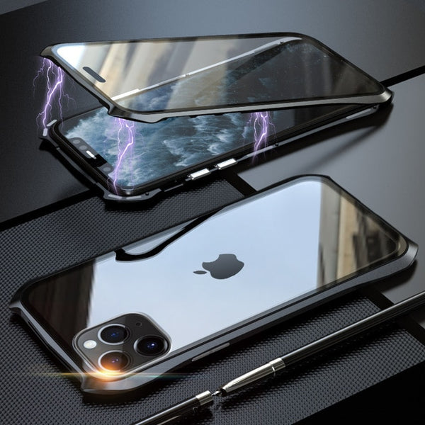 New Magnetic Adsorption Metal Tempered Glass Coque Case Cover For iPhone 11 Pro Max Series
