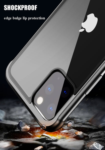 New Frameless Aluminum Metal Bumper Tempered Glass Back Cover Bumper Case For iPhone 11 XS XR 8 Series