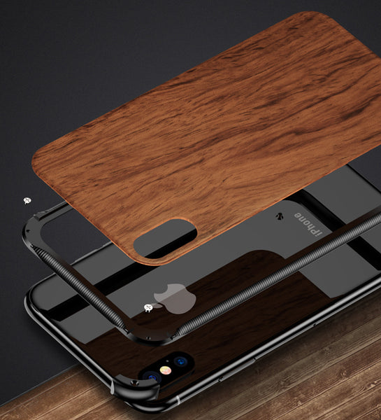 New Metallic Wood Coque Bumper Cover Case For iPhone X XS Series