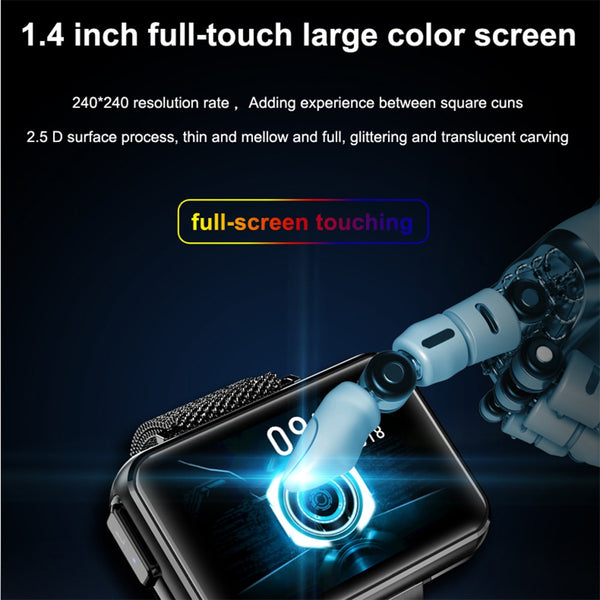 New 2-In-1 Wireless Bluetooth Headset 1.4 Inch Big Screen Smart Watch For Android iPhones